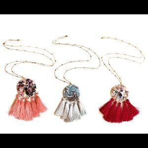 Acetate acrylic pendant tassel necklaces!